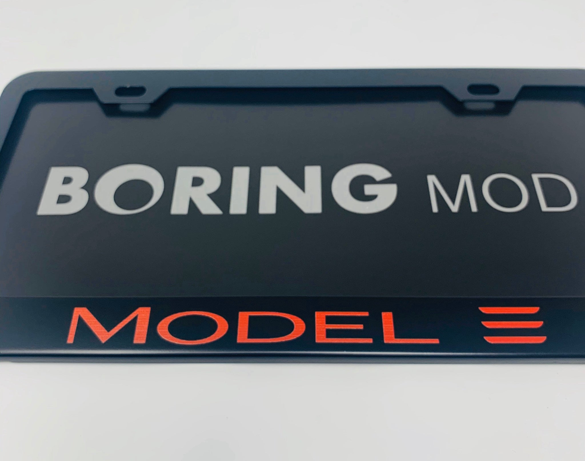 Tesla REDMODEL 3 /// Black License Plate Frame, Printed, Metal, No Stickers, BORINGmod, Best Gift, Free Returns