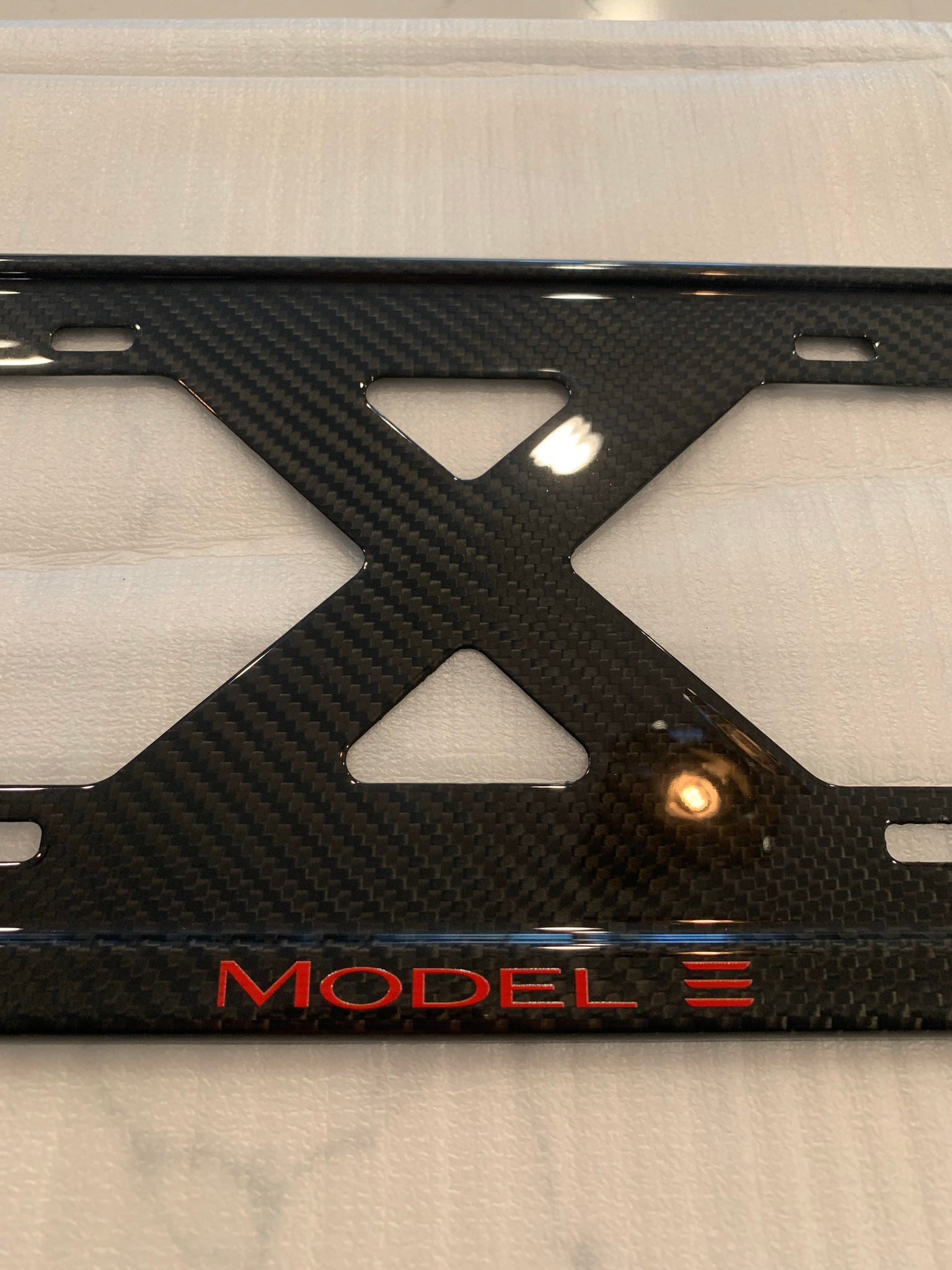 Model 3 RED X Slim Tesla License Plate Frame, 100% Carbon Fiber, No Decals, Full Warranty, Free Ship, Limited Run, Handmade from Cali