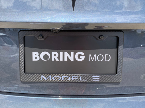 Tesla Grey MODEL 3 /// CF Tesla Matte  License Plate Frame / Guarantee, Screw Caps  / 100% Carbon Fiber/ No stickers, BORINGmod