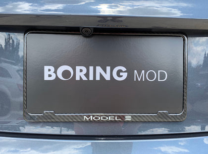 Tesla MODEL 3 /// (White) - X Slim Glossy Carbon Fiber License Plate Frame, Chrome Delete, BORINGmod, Handmade from Cali