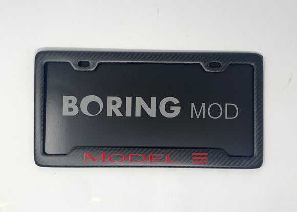 Tesla RED Model 3 /// CF Matte  License Plate Frame / Screws Caps / 100% Carbon Fiber/ No stickers, BORINGmod