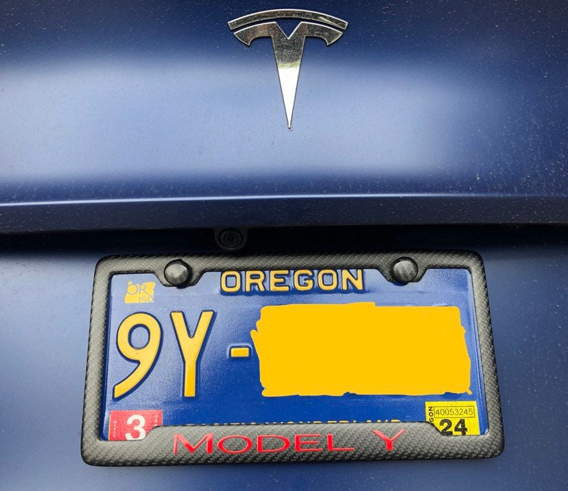 Tesla MODEL Y (Red) on Carbon Fiber Matte License Plate Frame / Car Accessories/ Warranty / Custom Cali / Performance Dual Motor