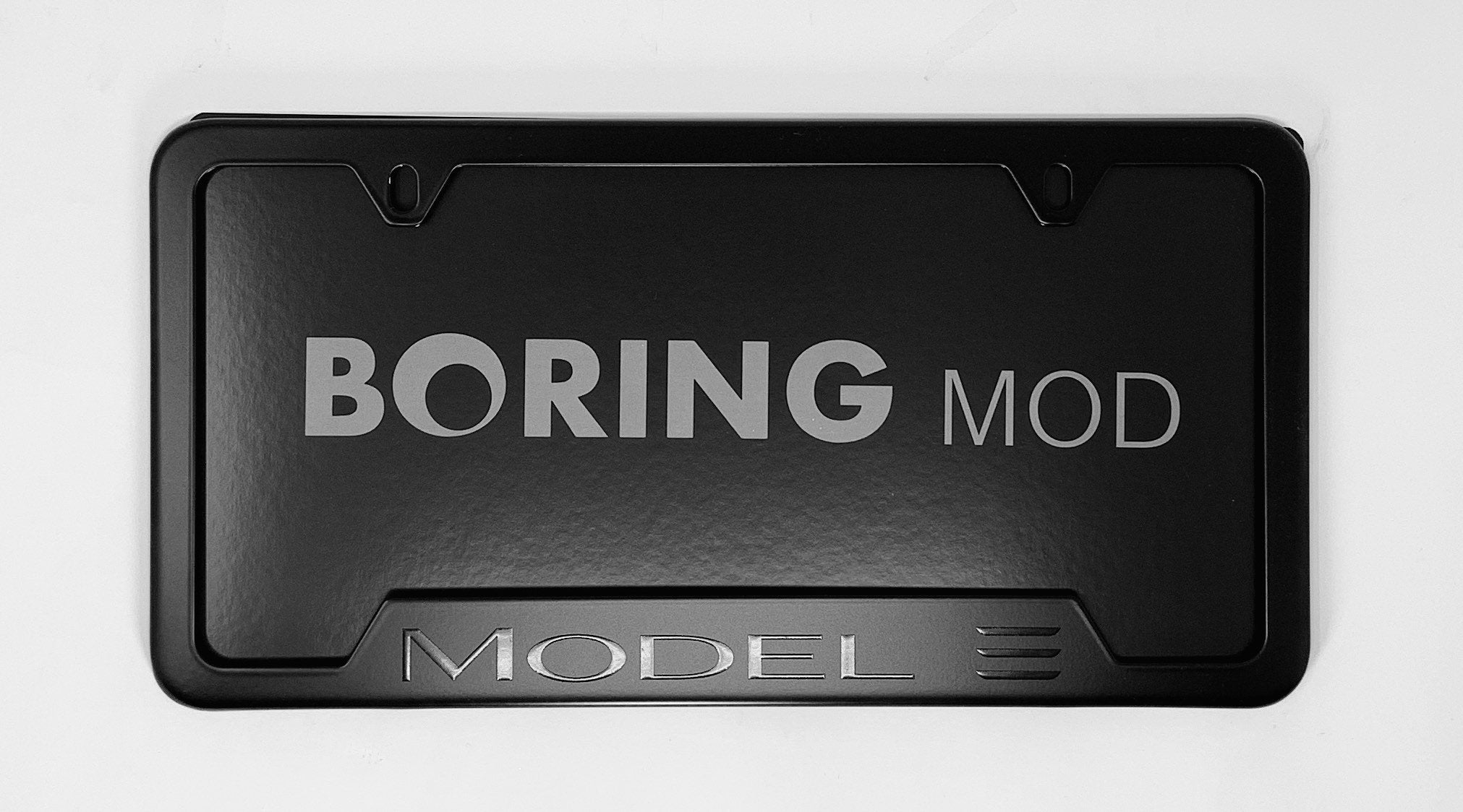 Tesla Black MODEL 3 /// on Black License Plate Frame,  printed, CUSTOM, Metal, No Stickers, BORINGmod, Free Returns, Chrome Delete