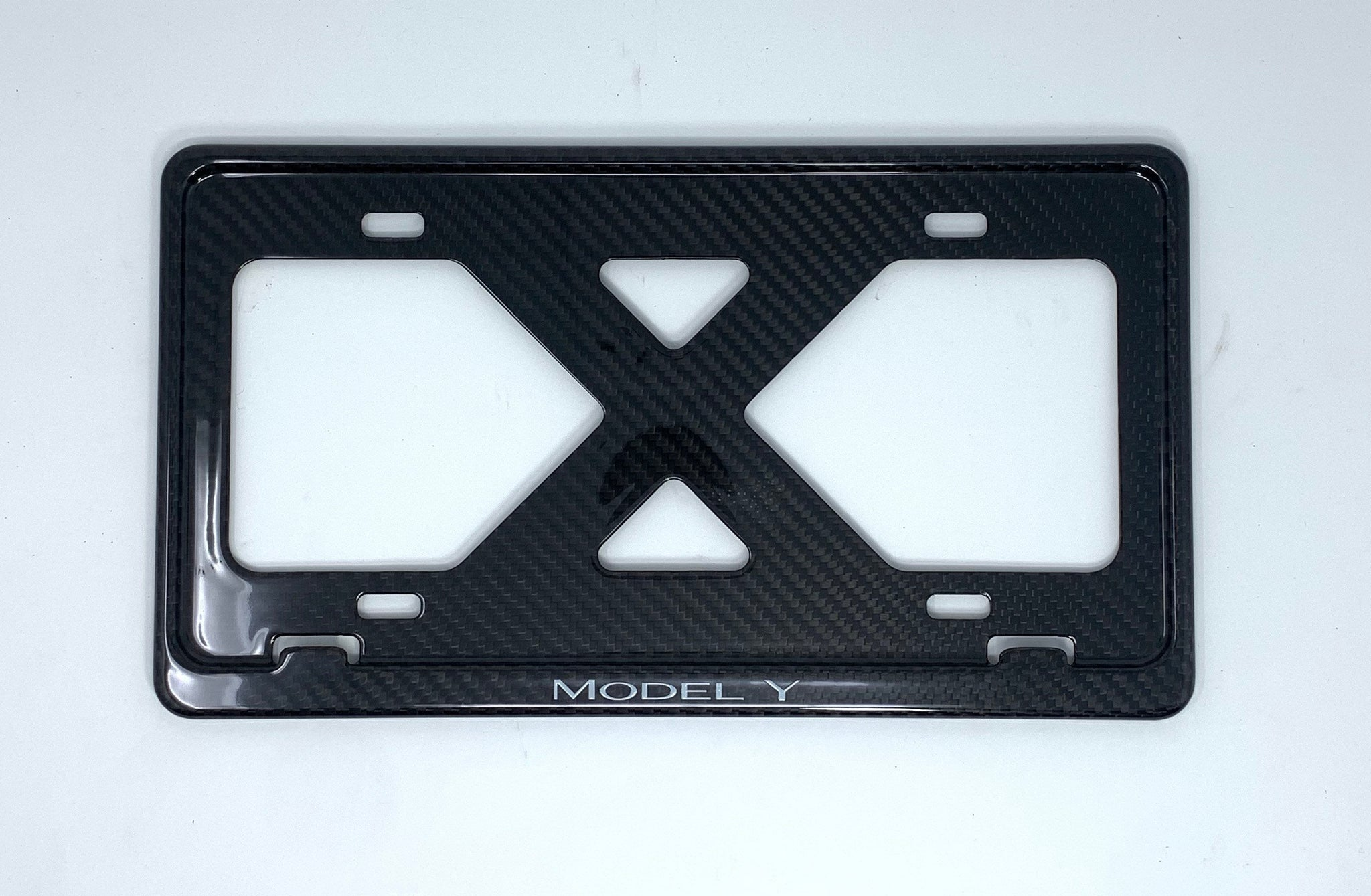 Tesla Model Y (White Slim Carbon Fiber License Plate Frame, No Decals, Full Warranty, BORINGmod, Limited Run, Handmade from Cali