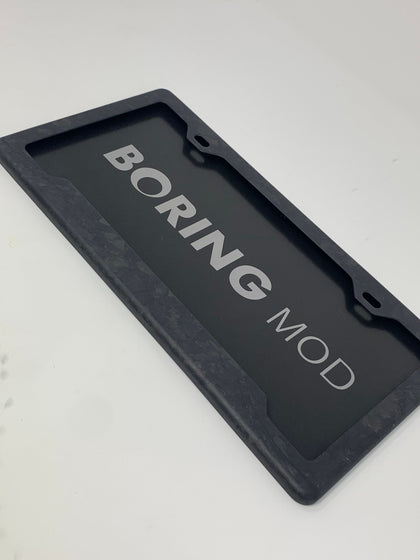 Forged Carbon Fiber Matte  License Plate Frame / Screws Caps / 100% Carbon Fiber/ No stickers, BORINGmod Porsche Tesla Bmw
