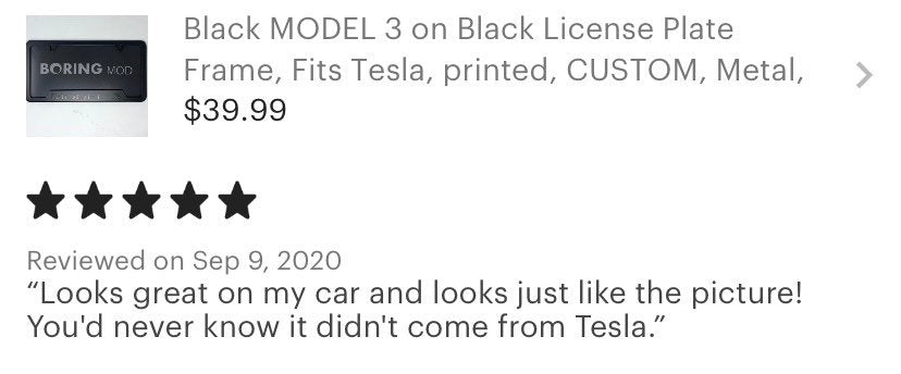 Tesla Black MODEL 3 _ RED Performance Underline License Plate Frame, Dual Motor Metal, No Stickers, Free Returns, Chrome Delete, BORINGmod