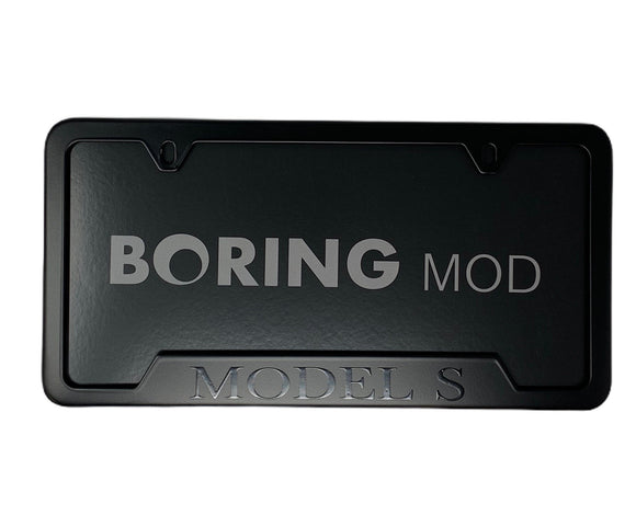 Tesla Black MODEL S on Black License Plate Frame, printed, CUSTOM, Metal, No Stickers, BORINGmod, Free Returns, Chrome Delete