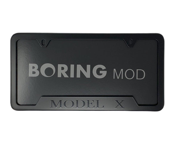 Black MODEL X on Black License Plate Frame, Fits Tesla, printed, CUSTOM, Metal, No Stickers, Free Ship, Free Returns, Chrome Delete