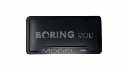 Tesla GRAY Tesla MODEL 3 /// Black License Plate Frame,  Printed , Metal, No Stickers, BORINGmod, Car Accessory Free Returns