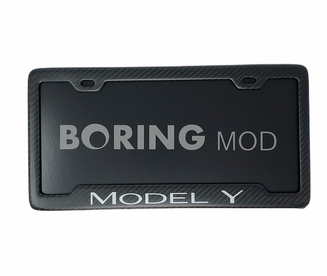 MODEL Y (White) on Carbon Fiber Matte Metal License Plate Frame / Fits Tesla / Warranty / Custom Cali / Performance BORINGmod