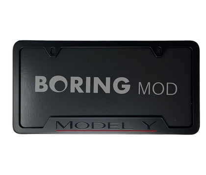 Black MODEL Y Performance _ Red Underline Dual Motor Tesla License Plate Frame, Custom Printed Metal BORINGmod, Free Returns, Chrome Delete