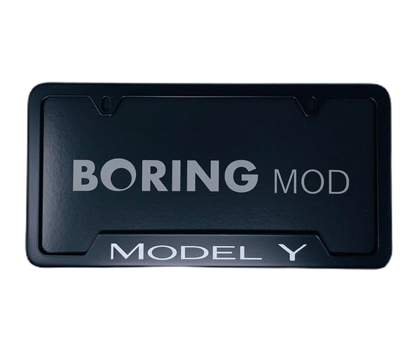 MODEL Y (White) on Black Universal License Plate Frame, printed, CUSTOM, Metal, No Stickers, Free Ship, Free Returns, Chrome Delete