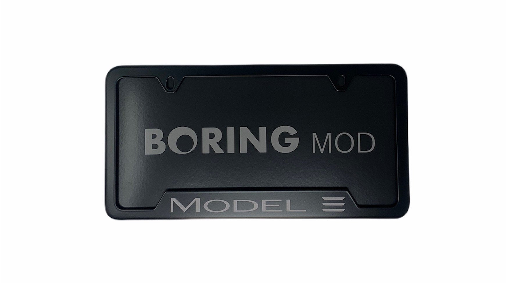 Tesla MODEL 3 /// Gray on Black Metal License Plate Frame, Fits TESLA, Printed, Performance,  Warranty / Cali