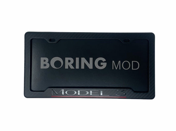 Tesla Black Model 3 Performance _ Underline Red on Matte Carbon Fiber license plate frame Dual Motor BORINGmod