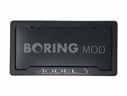 Tesla Black Model Y Performance _ Underline Red on Matte Carbon Fiber license plate frame Dual Motor BORINGmod