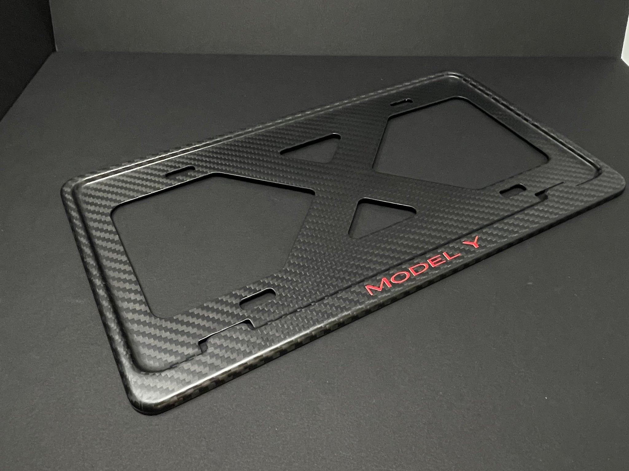 MODEL Y (Red) X Slim Matte Carbon Fiber License Plate Frame, Custom, Warranty, Tesla BORINGmod, Handmade from Cali