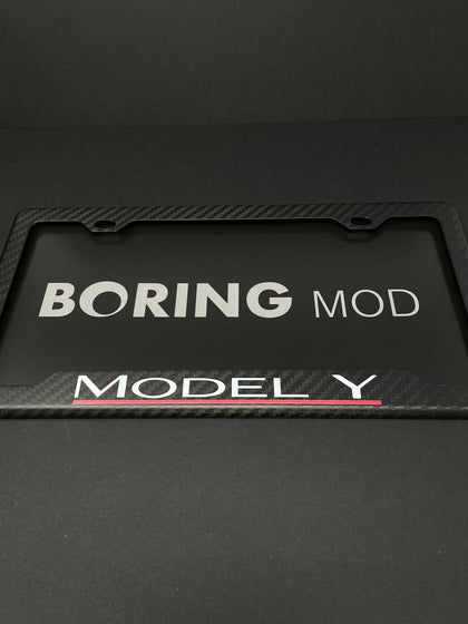 MODEL Y (White / Red) Performance Tesla Underline Carbon Fiber Matte Carbon Fiber Plate Frame / Warranty / Custom Cali  BORINGmod