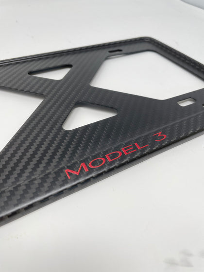 Tesla MODEL 3 (Red) - X Slim Matte Thin Carbon Fiber License Plate Frame, 4 hole Chrome Delete, BORINGmod, Limited Run, Handmade from Cali