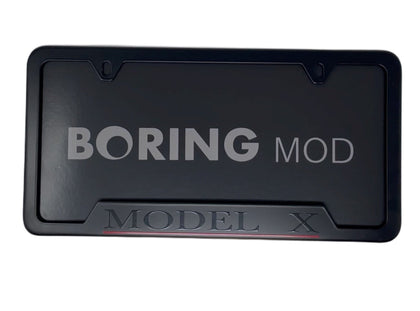 Black MODEL X Performance _ Red Underline Dual Motor Tesla License Plate Frame, Custom Printed Metal BORINGmod, Free Returns, Chrome Delete