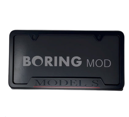 Tesla Black MODEL S Performance on Black License Plate Frame, printed, CUSTOM, Metal, No Stickers, BORINGmod, Free Returns, Chrome Delete