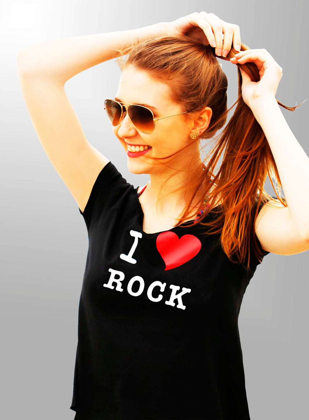 Camiseta I love Rock Croped