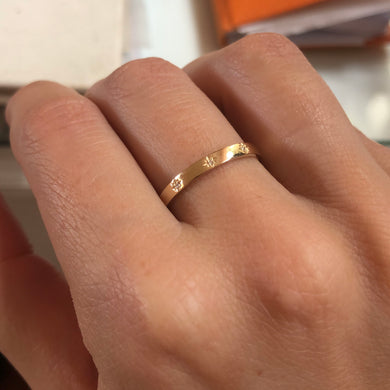 14kt Gold and Diamond Ring shown on hand