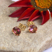 Load image into Gallery viewer, Solid gold and Anastasia topaz studs with red flower
