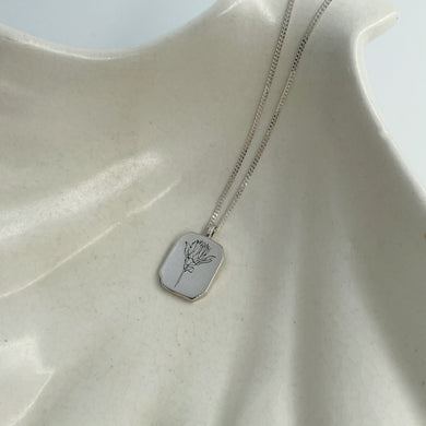 Rectangle Protea Necklace in Silver