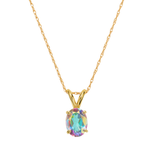 Load image into Gallery viewer, Solid 14kt gold pendant, set on a solid gold chain. Handmade in Chicago USA by La Kaiser Jewelry