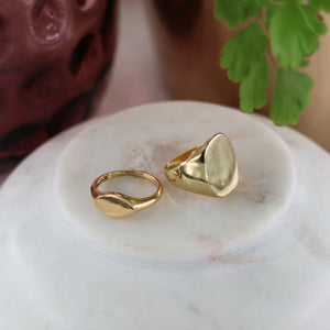 Two gold signet rings, one large and one small, on marble with background effects