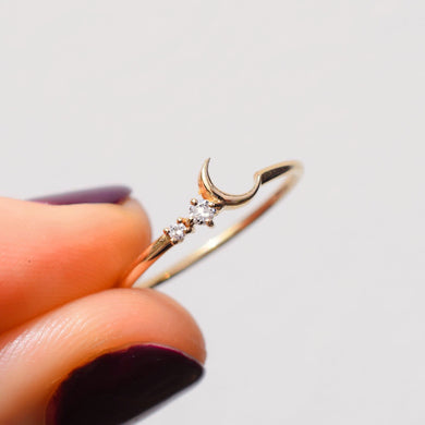 14kt Gold Fly me to the Moon Ring by La Kaiser. Solid gold with two diamonds. A La Kaiser favourite. Exclusive in South Africa on Collective and Co online jewellery store