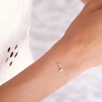 14kt Gold Forever Rose Bracelet by La Kaiser. Solid gold, hand-carved, delicate fine jewelry bracelet. Sold exclusively in South Africa by Collective and Co online jewellery store