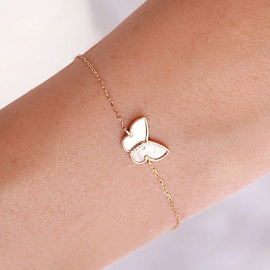14kt Gold Mother of Pearl and Diamond Mini Butterfly Bracelet by La Kaiser. Fine jewelry imported from USA and sold exclusively in South Africa by Collective and Co.