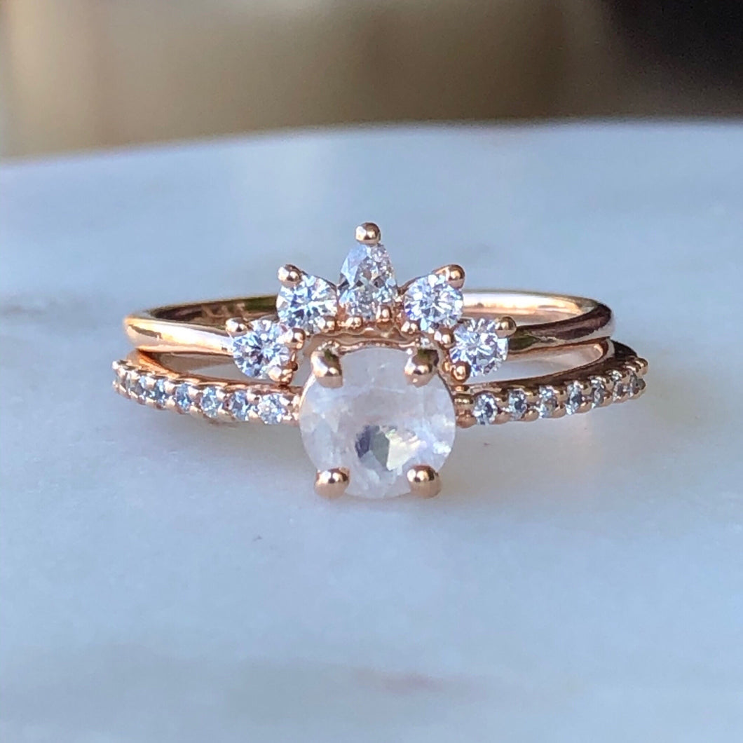 Rose gold Dancing Fairy ring stack on marble