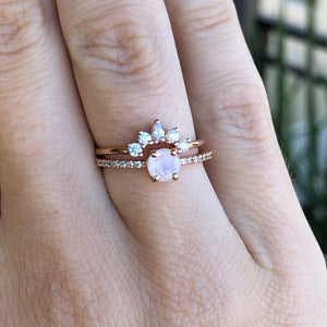 Rose gold, rainbow moonstone and diamond La Kaiser stacking ring on hand