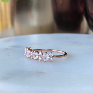 La Kaiser Rose Gold Rainbow Moonstone Farah Ring on marble