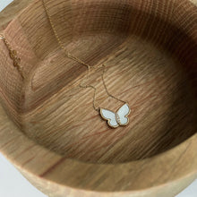 Load image into Gallery viewer, La Kaiser_10kt Mother of Pearl and Diamond Butterfly Pendant in wooden bowl