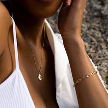 Load image into Gallery viewer, Meraki Bee Pendant and Paperclip bracelet on model