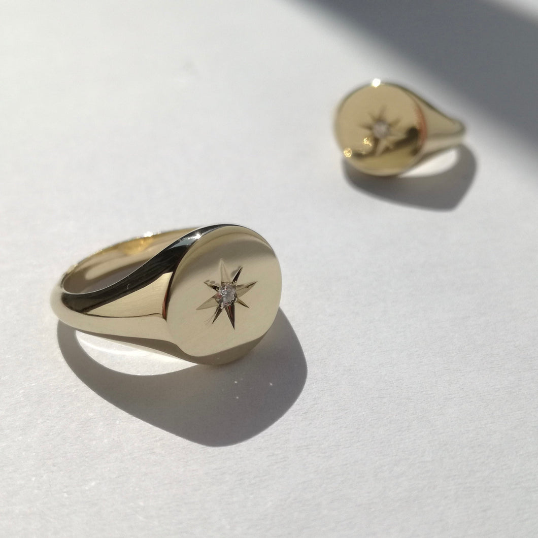 Rebecca signet rings made from 9ct gold and set with a centre diamond