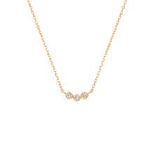Load image into Gallery viewer, Solid gold pendant with three diamonds set in a row