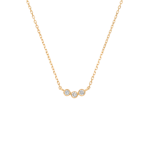 Solid gold pendant with three diamonds set in a row