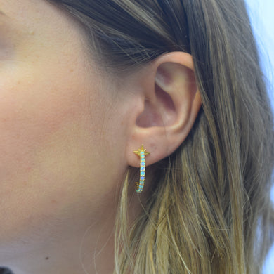 Blue Opal Shooting Star Hoops made by La Kaiser Jewelry in Chicago USA.