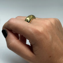 Load image into Gallery viewer, Extra thick brass ring shown on female hand