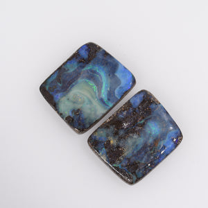 Australian Natural Queensland Boulder Opal Gemstone Pair - ERO1019520