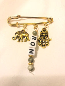 Personalized safety pin charm for hand bag/jacket/baby bassinet/car seat/stroller