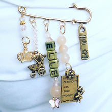 Load image into Gallery viewer, Personalized safety pin charm for hand bag/jacket/baby bassinet/car seat/stroller