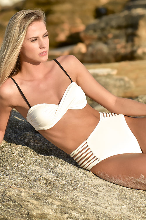 White Strappy High-Waisted Bikini Bottom