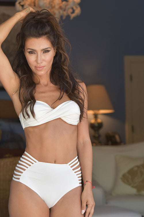 White Ruched Crossover Bandeau Top