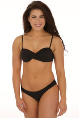 Black Ruched Crossover Bandeau Top