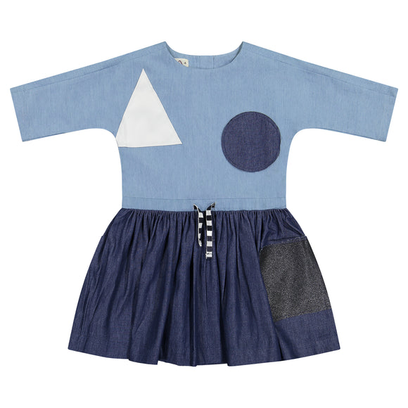 DENIM SMOCK Dress - RUNS SMALL, SIZE UP ONE SIZE LARGER THAN DESCRIPTION BELOW
